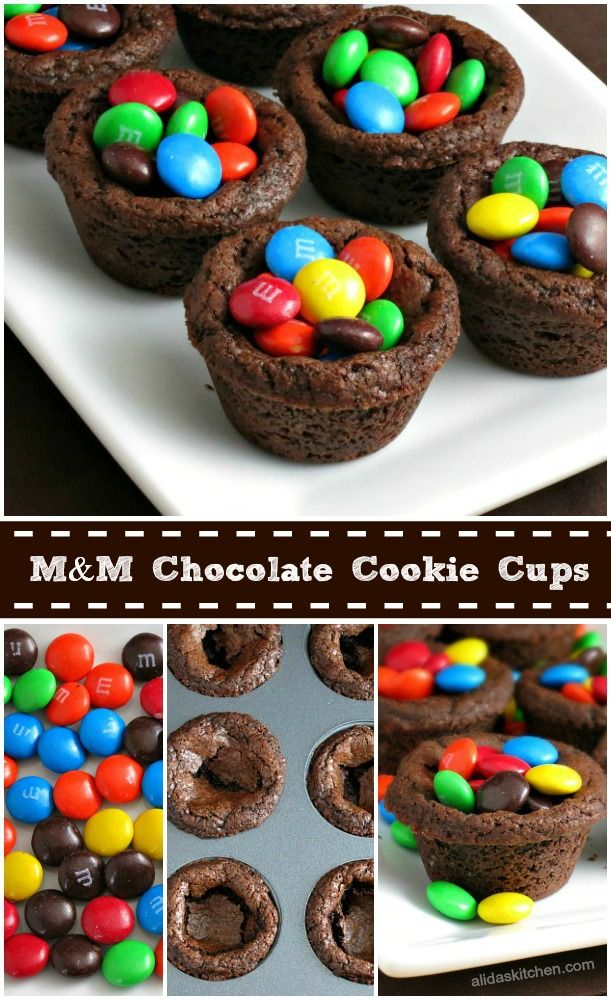 M&M Chocolate Cookie Cups | alidaskitchen.com #BakingIdeas #cbias #shop