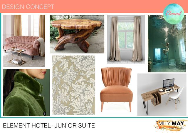 Hotel suite bedroom design mood-board concept