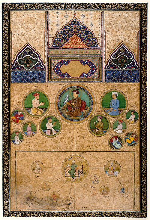 Pictorial Genealogy of Mughal Emperor Jahangir. ca 1623-27. Legitimizing his rule by tracing his connections back to Timur.
