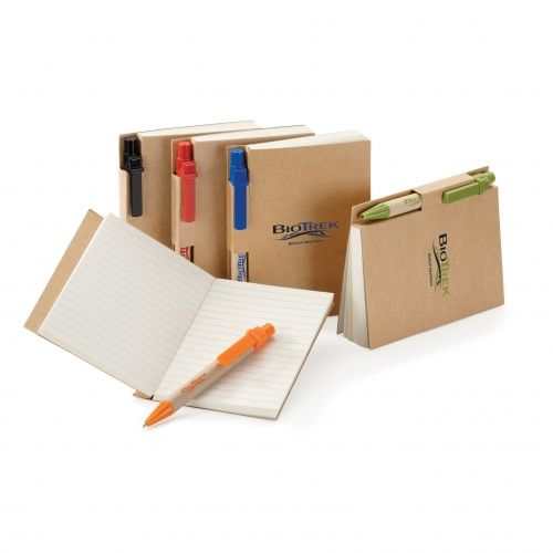 This memo combo includes non-refillable book from 60% recycled materials and mini paper pen made with 80% recycled materials