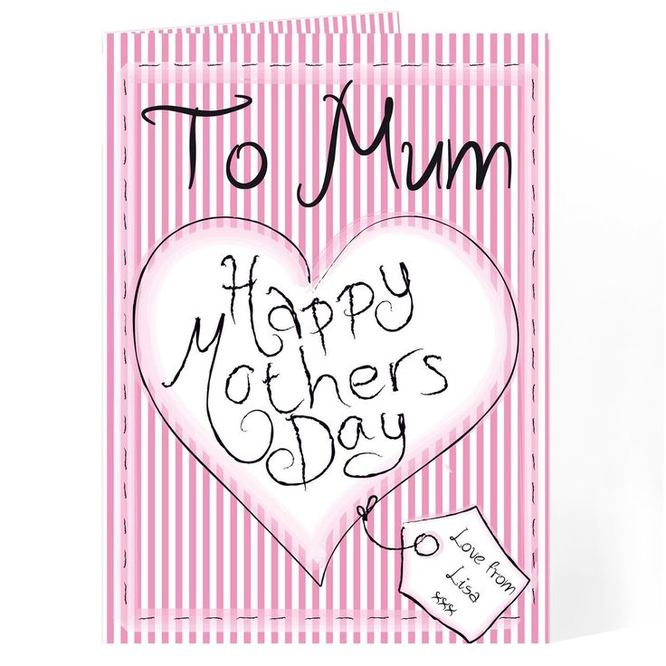 Personalise this Happy Mothers Day Card with any name ' To My Mum' 'Grandma' 'Mummy' etc and who the card is from featured on the tag up to 12 characters. Inside the card can be personalised with any message spread over 5 lines and up to 20 characters per line.   The wording 'Happy Mothers Day' and 'Love from' 'xxx' on the tag is standard text.  All Cards come in a brown outer envelope with a Plain White envelope inside. All cards measure 185mm x 132mm.  Our great value cards include free…