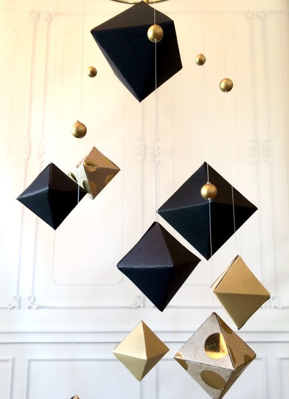 Geometric Baby Mobile  Paper Mobile  Gold and by BabyMajestic