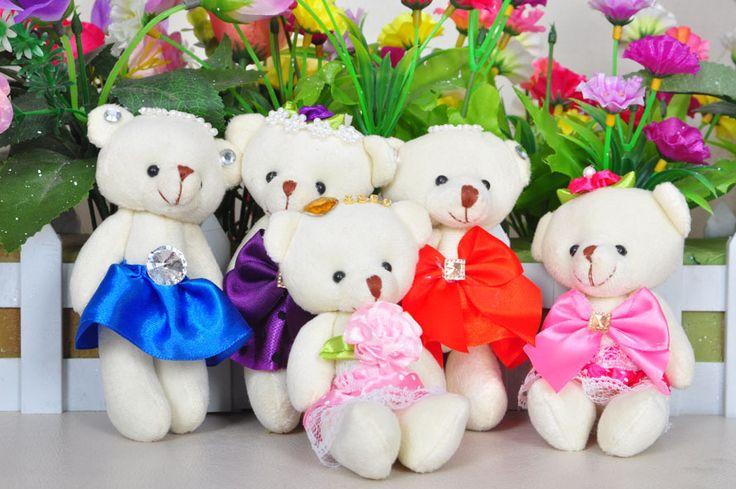 Около 12 см прекрасный любит принцесса невеста медведей с свадебное платье плюшевые игрушки один комплект / 16 шт. игрушки свадебный подарок, T6964
