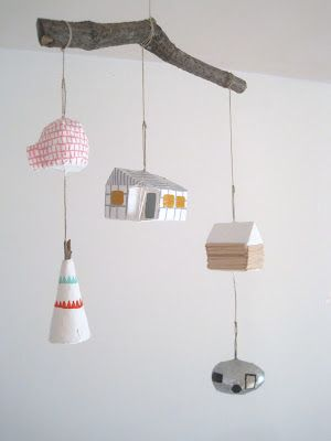 mini mobile homes  w/ lustron :: this is adorable!!!: Mobiles Ideas, Mobiles Home, Kids Stuff, Diy Inspiration, Kids Garlands Rooms, Minis Mobiles, Houses Mobiles, Kids Rooms, Baby Mobiles Design Diy