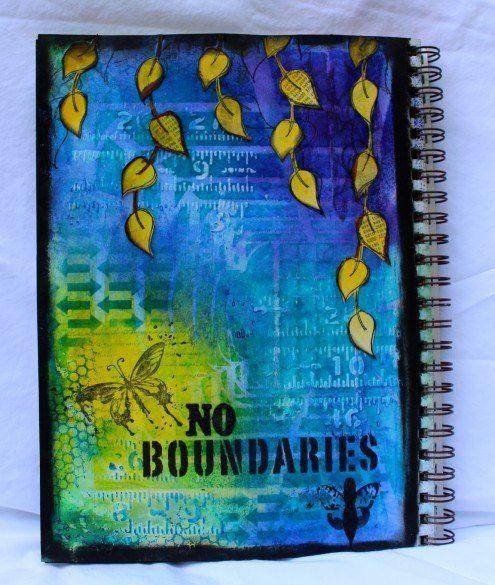 Kemper art journal tutorial with Dylusions Ink Sprays http://www.marjiekemper.com/art-journaling-boundaries-tutorial/
