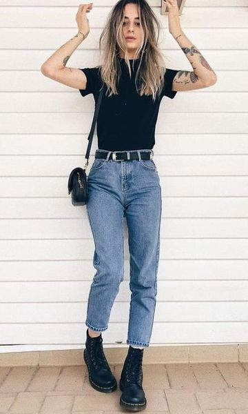 Look Mom Jeans + Coturno – #Coturno #jeans #Mom