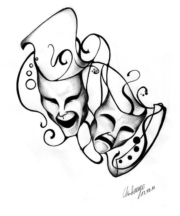 Masks - Tattoo-Design by ~MusiKasette on deviantARTTattoo Ideas, Masquerades Masks Tattoo, Theatrical Masks, Tattoo Design, Tattoo Updates, Tattoo Vero