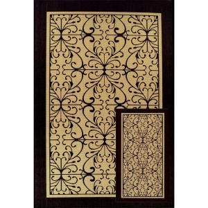 Scroll Beige/Black 7 ft. 7 in. x 10 ft. 10 in. 2-Piece Indoor/Outdoor Rug Set-3073.5381.2PC at The Home Depot