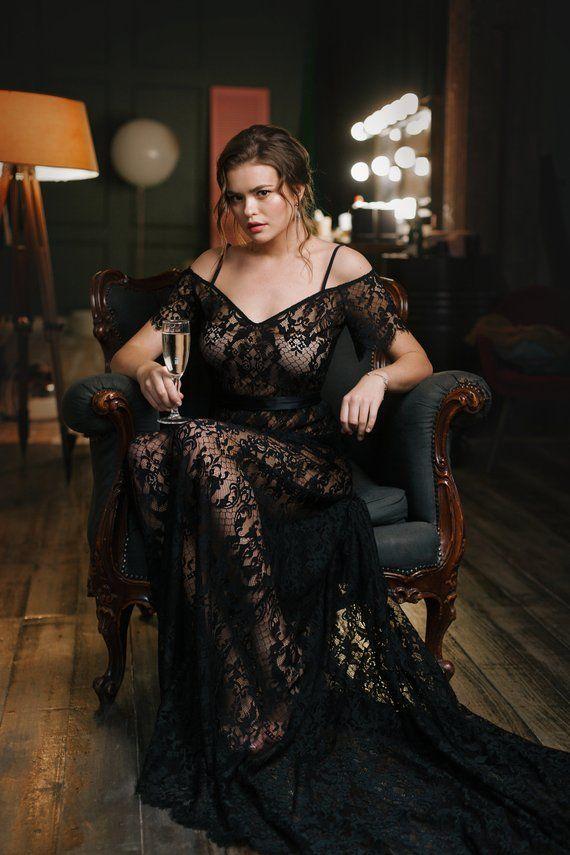 af8232684ea Sexy Long Black Lace Nightgown F26, Bridal Black Lingerie, Wedding ...