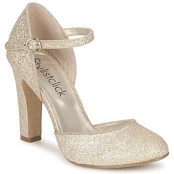 gouden schoenen bandje dicht blokhakje