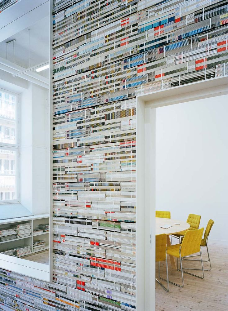 Wall made of magazines...impressive!