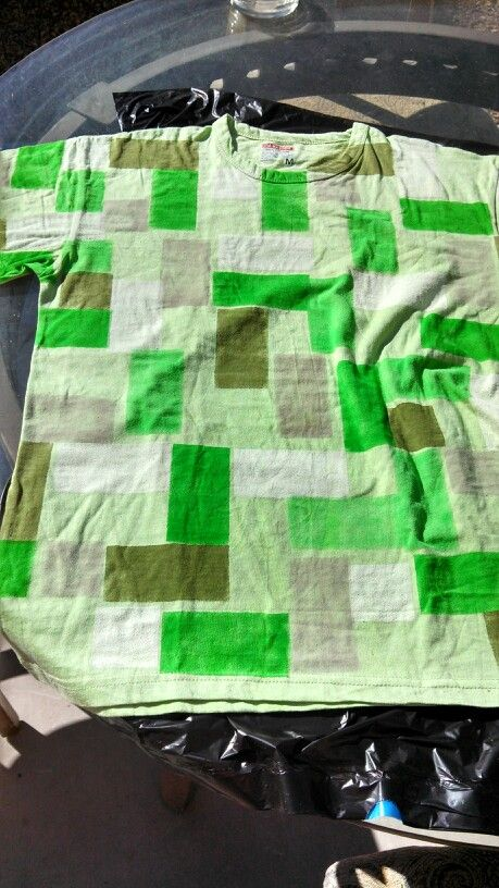 The shirt I made for my son's minecraft creeper costume