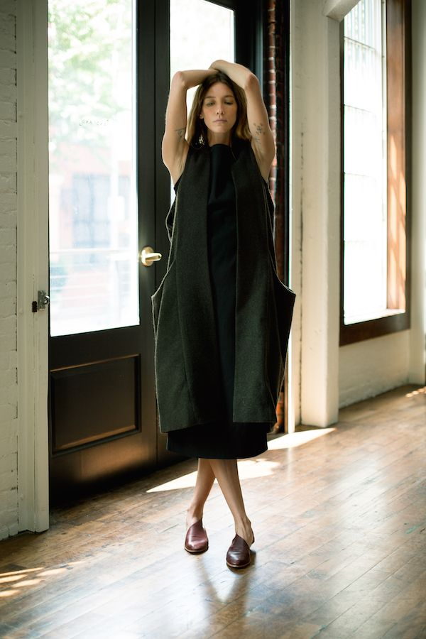 Minimalist dress and long vest