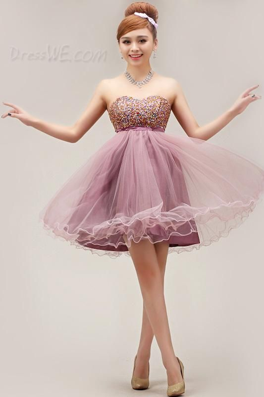 $104.69 Dresswe.comサプライ品プリティストラップレスミニ丈エンパイアAラインのウェディング/スウィートシックスティーンドレス
