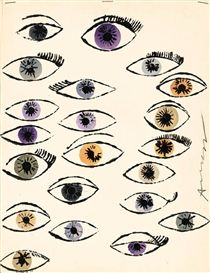 Artwork by Andy Warhol, three drawings: Untitled (Eyes), Untitled (Perfume Bottle) and Untitled (Perfume Bottle)