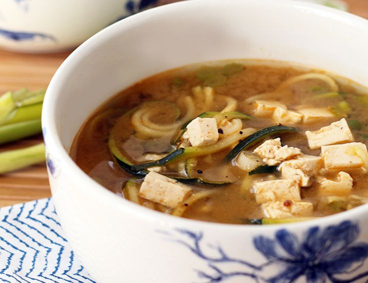 Miso Green Tea and Ginger Zucchini Noodle Soup With Tofu