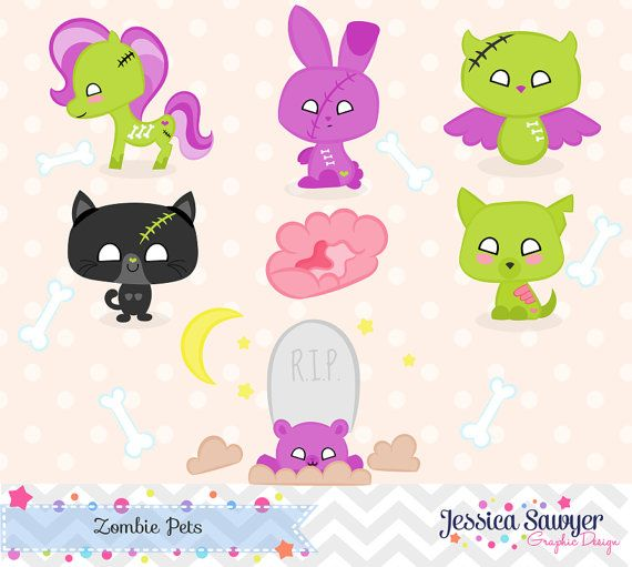 Kawaii Halloween Zombie Animal Clipart for Crafts and Products.