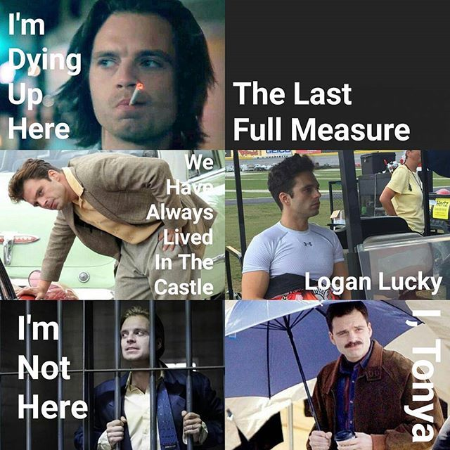 """≡✪≡ Sebastian Stan's upcoming projects: • """"I'm Dying Up Here"""" as Clay Appuzzo (2017) - tv show, one episode • """"The Last Full Measure"""" as Scott Huffman (release date unknown) - movie • """"We Have Always Lived In The Castle"""" as Charles Blackwood (2017) - movie • """"Logan Lucky"""" as unknown (2017) - movie • """"I'm Not Here"""" as Steve (2017) -  movie • """"I, Tonya"""" as Jeff Gillooly (2018) - movie Not included in the picture: • """"Avengers: Infinity War"""" as James Buchanan """"Bucky"""" Barnes (2018) - movie…"""