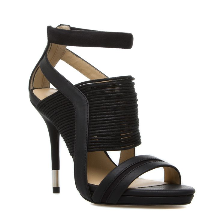 GX by Gwen Stefani 'Haru' Black Faux Leather and Fabric Strappy Sandal with  Metallic-Capped Stiletto Heel