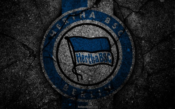 Download wallpapers Hertha, logo, art, Bundesliga, soccer, football club, Hertha BSC, asphalt texture