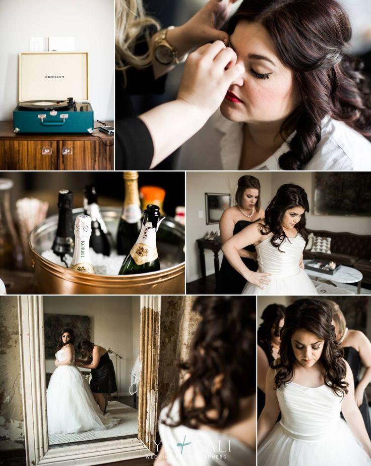 Nyk + Cali Wedding Photography | Nashville, TN | The Cordelle | Wedding | Jewish | Getting Ready | Crosley Record Player | Champagne | Bridesmaids | Bride | Dress | Mirror | Elegant |