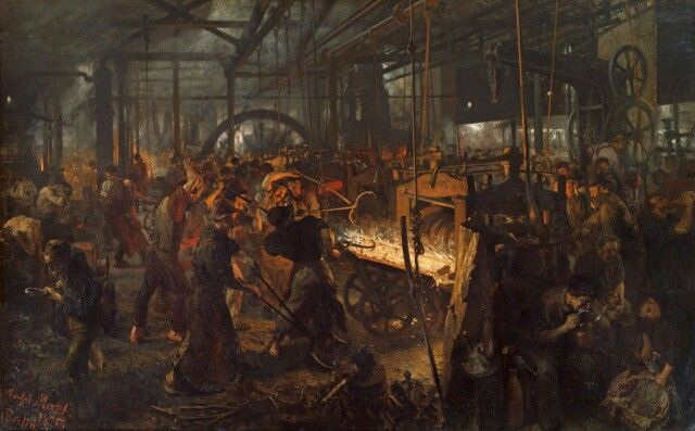 """Iron Rolling Mill"" - Adolph Menzel, 1875 [2559x1588"