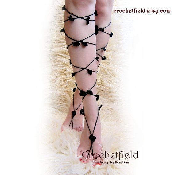 CLOVERS Lace Up Barefoot Sandals knee high by Crochetfield on Etsy