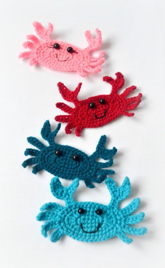 Crochet crab applique pattern crochet pattern by Thehobbyhopper
