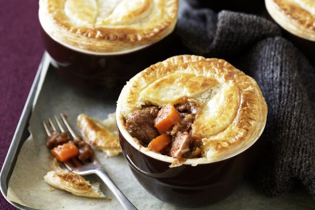 Beef, balsamic and tomato pot pies - freezer friendly