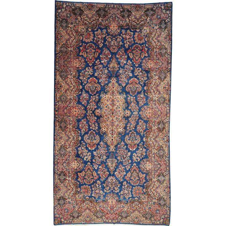 "1800getarug Refurbished Antique Persian Kerman Oversize Wool Area Rug (9'8 x 18'6) (Exact Size: 9'8"" x 18'6""), Blue, Size 11' & Up"
