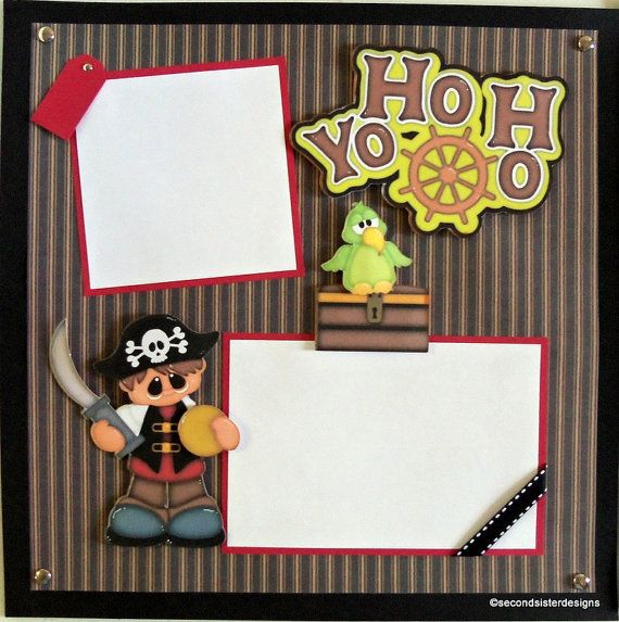 YO HO HO Premade 12x12 Scrapbook pages 2page  layout paper piecing vacation vacation cruise pirate
