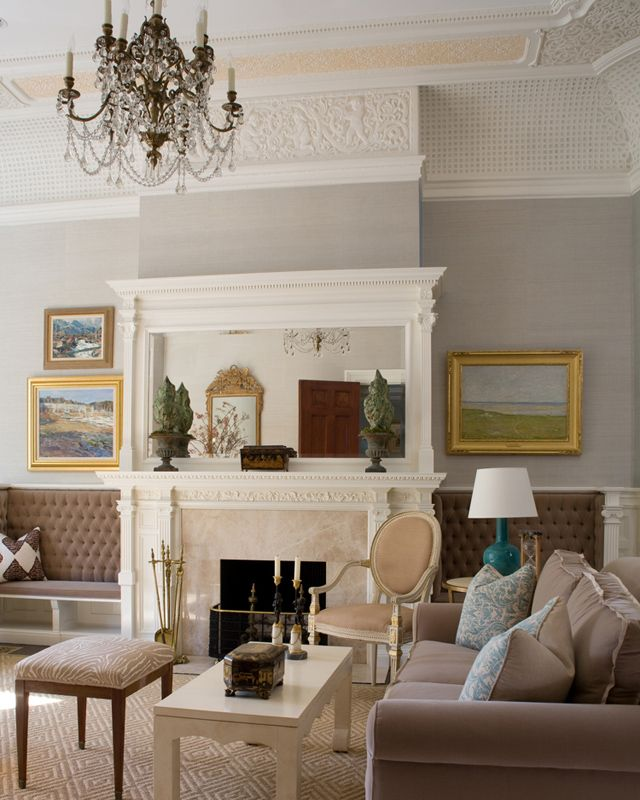 Kate Coughlin Interiors – Renovated Brownstone - Chandelier, gray walls with white trim, warm gray sofa.......cool, modern palette meets Victorian architectural details