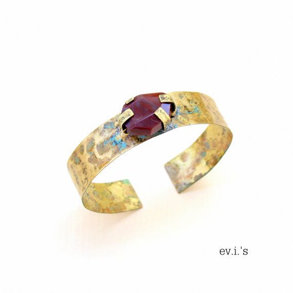 Dark Red Agate Brass Bracelet Cuff Hand by EVIsMetalworkJewelry, €34.00