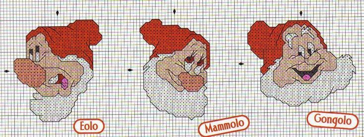 schema punto croce mini schemi sette nani | Hobby lavori femminili - ricamo - uncinetto - maglia