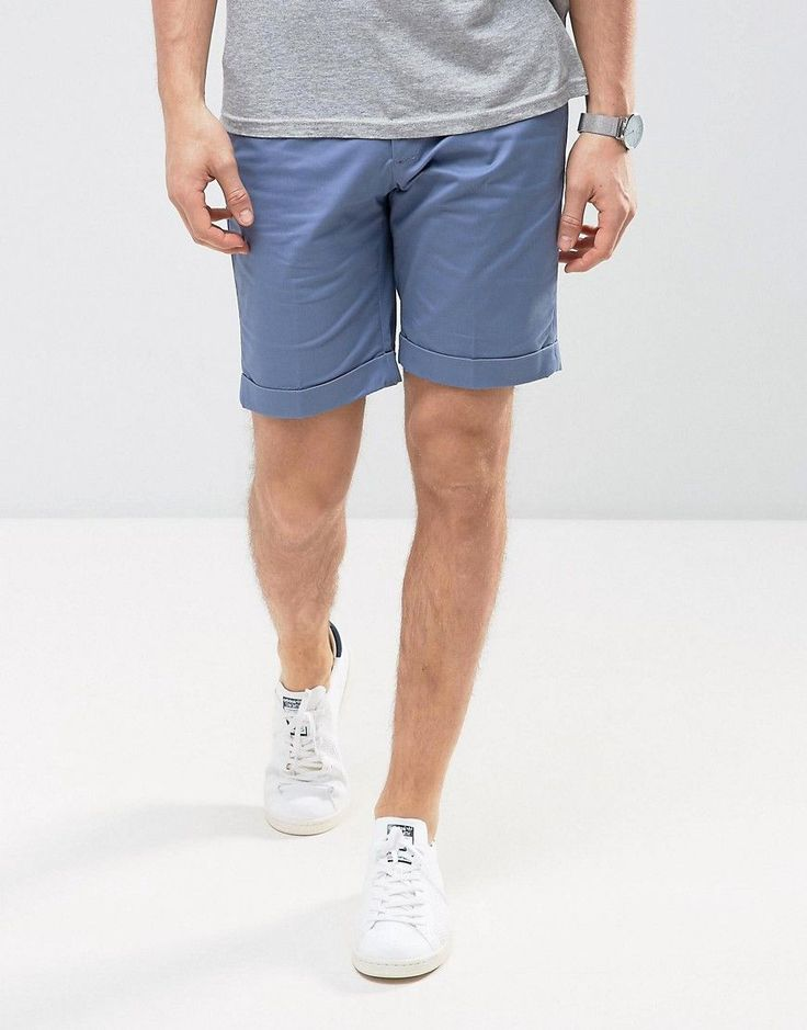 Mango Man Chino Shorts In Blue - Navy