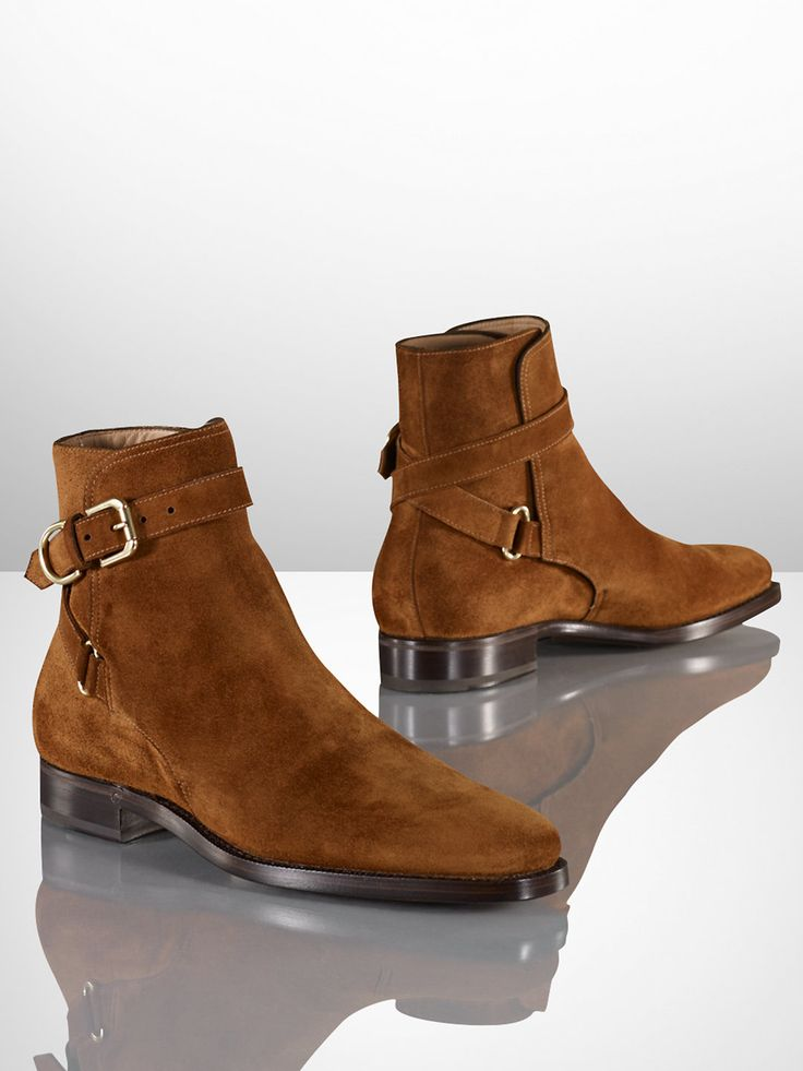 I believe these are Ralph Lauren Macon jodhpur boots in suede