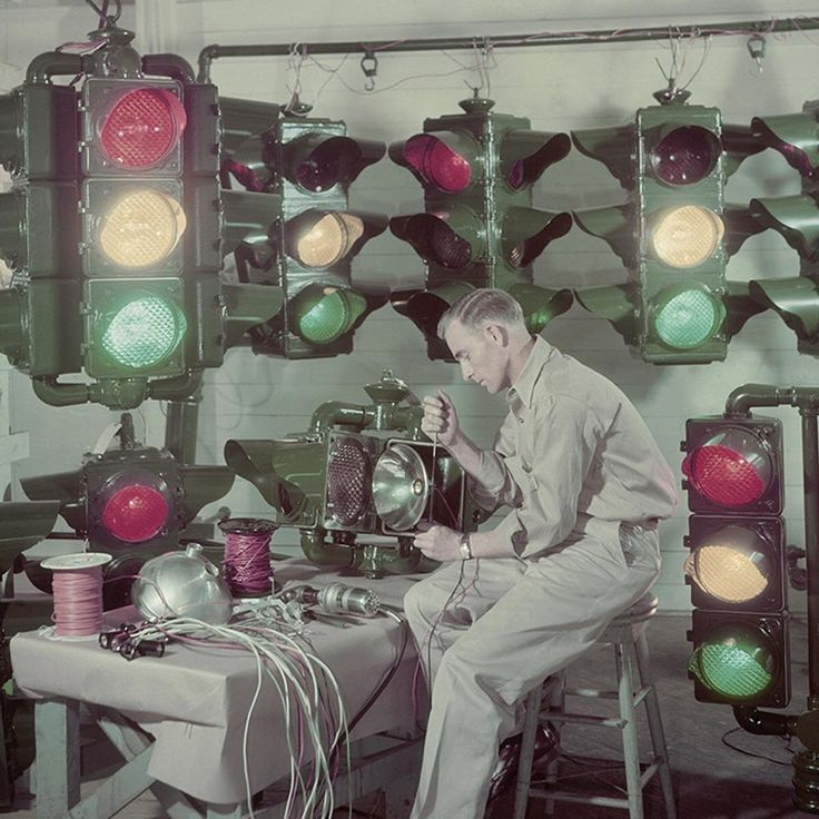 Do you know what year this image of traffic lights manufactured in Shreveport, Louisiana and sent around the U.S. and abroad was published in National Geographic magazine? Photo by J. Baylor Roberts. Check back to see the answer posted in the caption.