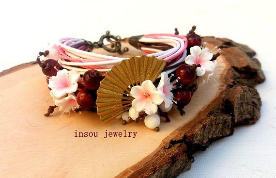 Sakura Cherry Blossom Charm Bracelet Wrap Bracelet Flower