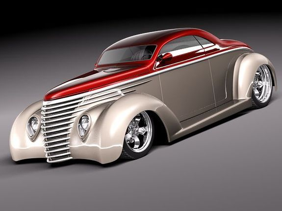 Ford 1937 5 window coupe streetrod 3D Model