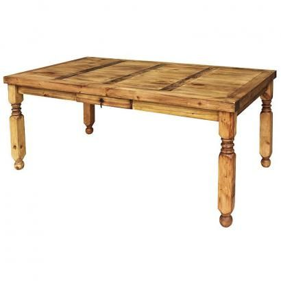 This popular Lyon rustic table is offered in three sizes. The medium size will seat four comfortably. The large can seat six comfortably and the extra-large has room for up to eight adults! There's a small drawer in the center for napkins or utensils. This piece can also serve as a library table, sewing table, desk, hobby or potting table. The sturdy handmade construction of this piece of southwestern furniture will give you a lifetime of service. Handmade in Mexico.