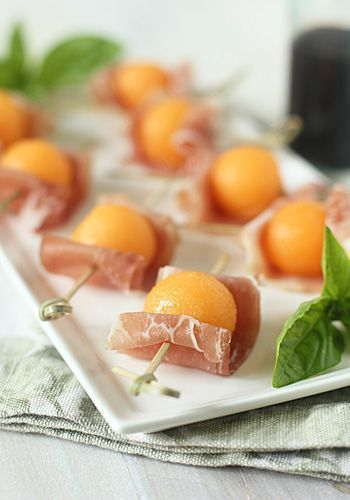 prosciutto and cantaloupe bites | the galley gourmet. Was JUST talking about this recipe to a friend last night. One of my favs.
