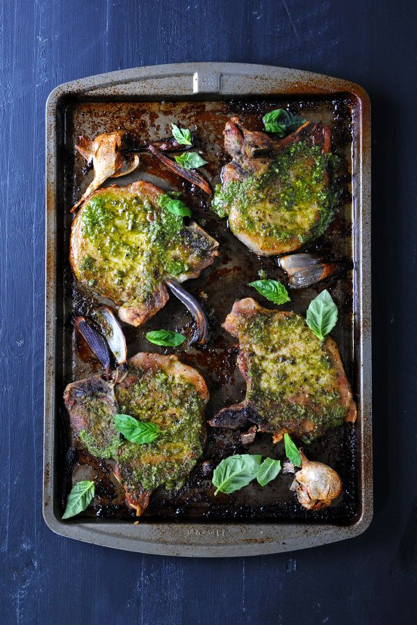 Garlicky Pesto Pork Chops