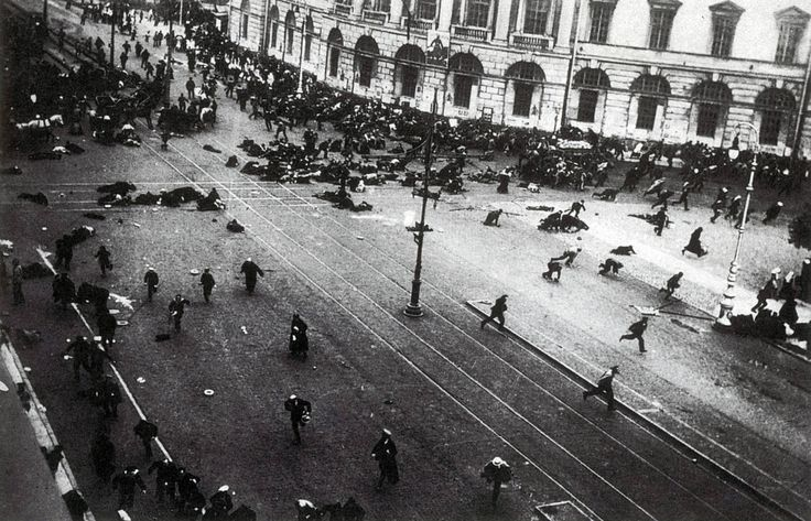 Street demonstration on Nevsky Prospekt in Petrograd just after troops of the Provisional Government opened fire in the July Days