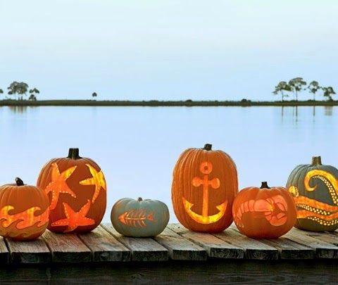 Coastal and Nautical Pumpkin Carving Ideas from Coastal Living: http://www.completely-coastal.com/2012/09/pumpkin-carving-ideas-free-templates.html