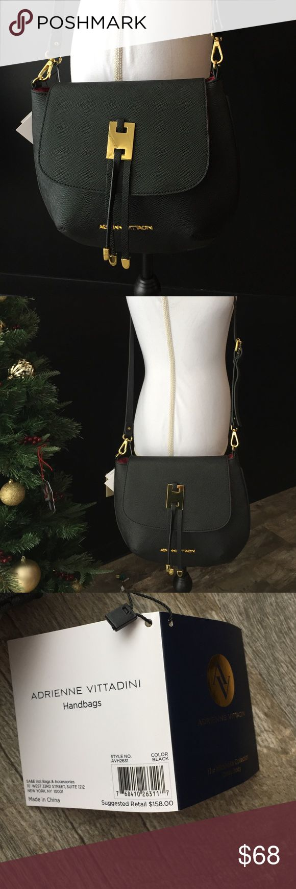 Adrienne vittadini crossbody purse handbag nwt Adrienne vittadini crossbody purse handbag nwt black had a snap closure soft pu material fully lined interior with pocket adjustable removable strap . New with tags retail 158   12x11 tall Adrienne Vittadini Bags Crossbody Bags