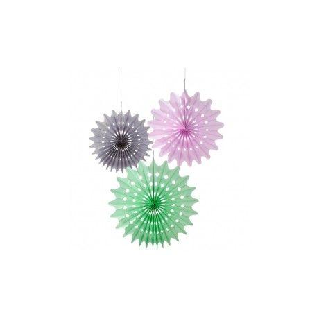 """3 hélices à suspendre """"Noir Violet Vert"""""""