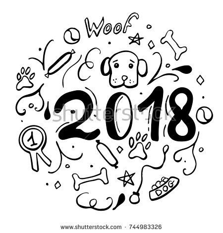 Vector illustration with dog, paws, bones and bowl for  new year and christmas greeting cards