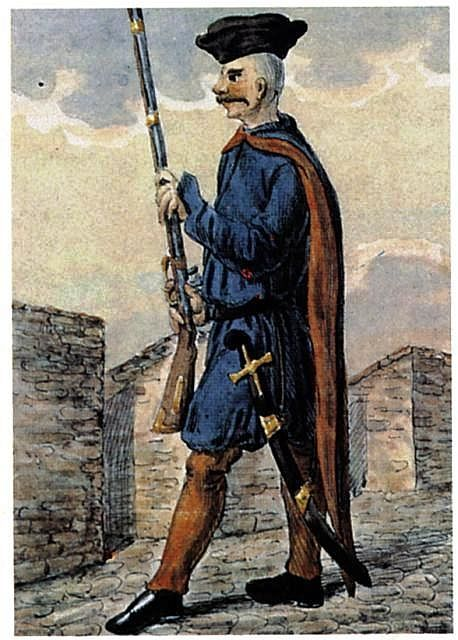 Wybraniec - polish  infantry soldier from the first half of the 17th century. dressed: blue zupan  , blue Delia red lining. cap on her head - magierka. red tight pants