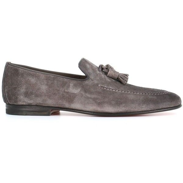 Tassel Loafers ($470) ❤ liked on Polyvore featuring men's fashion, men's shoes, men's loafers, grey, mens tassel loafer shoes, mens tassel shoes, leather sole mens shoes, mens grey shoes and mens loafer shoes