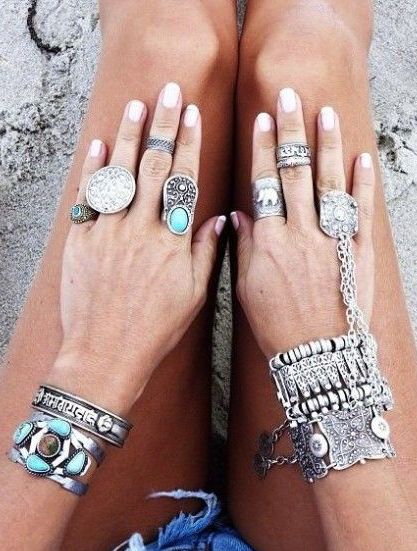 boho chic silver & turquoise stacked bracelets with gypsy inspired chain bracelet & modern hippie rings. For the BEST Bohemian fashion trend ideas FOLLOW https://www.pinterest.com/happygolicky/the-best-boho-chic-fashion-bohemian-jewelry-gypsy-/ now!